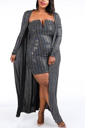 Trans Sequins Dress & Cardigan Set