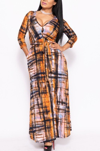 Elegant Maxi Dress With A Waist Tie