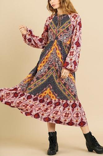 Scarf Mixed Print Long Puff Sleeve Keyhole Maxi Dress