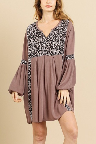 Animal Print Long Puff Sleeve Split Neck Babydoll Dress