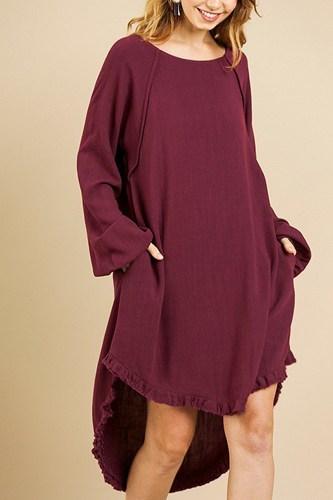 Linen Blend Long Puff Sleeve Round Neck High Low Dress