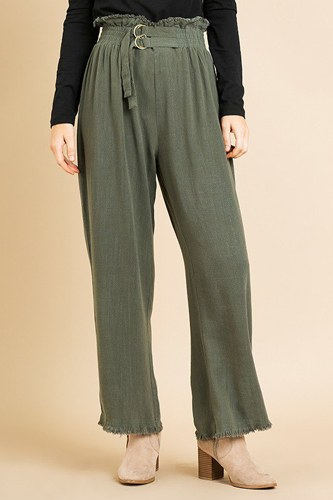 Linen Blend High Waist Paperbag Wide Leg Pant