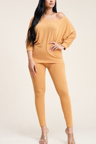 Solid French Terry Slouchy Top And Pants Two Piece Set