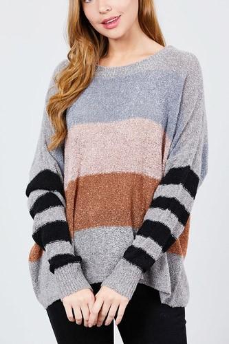 Long Dolman Sleeve Round Neck Multi Color Block Sweater