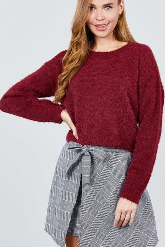 Long Sleeve Round Neck Crop Sweater