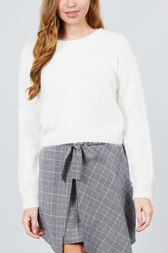 Long Sleeve Round Neck Crop Sweater