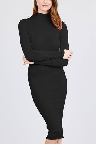 Long Sleeve Mock Neck Rib Sweater Midi Dress