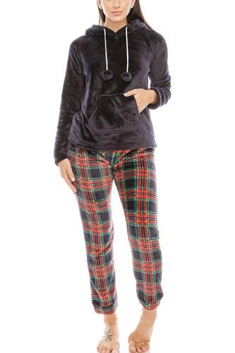 2pc Flannel Pj Set W/ Hoodie