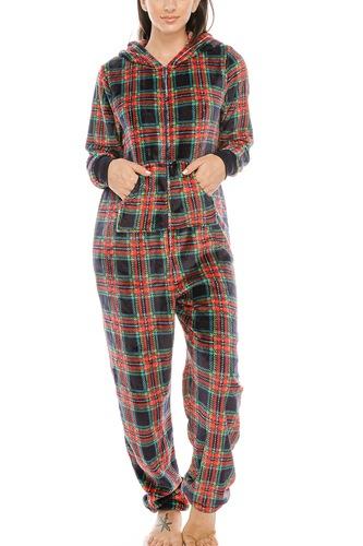 Flannel Jumpsuit Pj W/ Hoodie