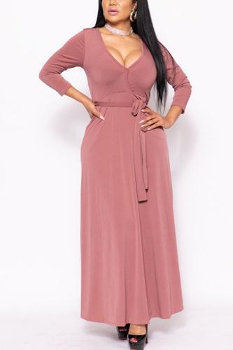 Solid, V-neck Maxi Dress