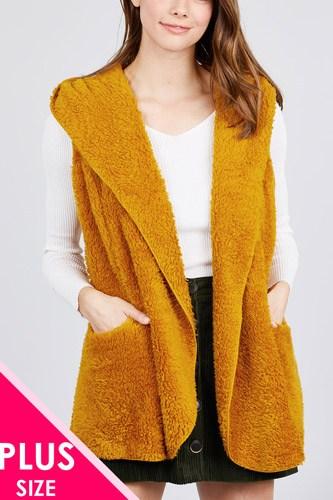 Open Front W/hoodie Faux Fur Vest