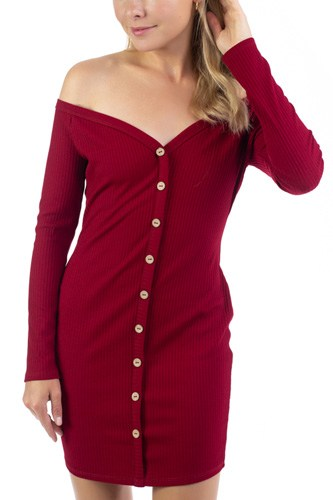 Off Shoulder Ribbed Dress