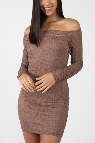 Floral Lace Off Shoulder Dress