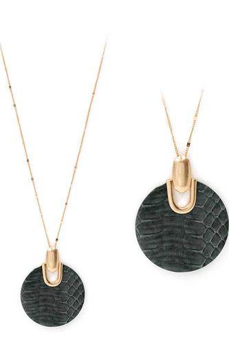 Genuine Leather Animal Textured Pendant Necklace
