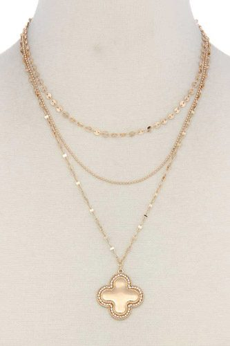 Moroccan Shape Pendant Layered Necklace