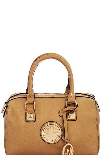 Designer Fashion Emblem Boston Bag With Long Strap
