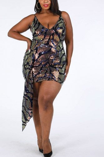 Wavy Pattern Sequin Dress