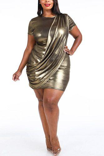 Draped Metallic Mini Dress