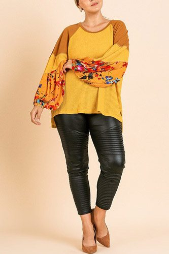 Floral Print Long Puff Sleeve Round Neck Waffle Knit Top