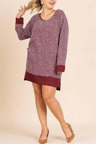 Heathered Knit Long Sleeve Round Neck Dress