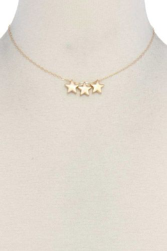 Three Star Charm Metal Necklace