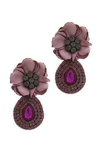 Flower Rhinestone Post Drop Earring