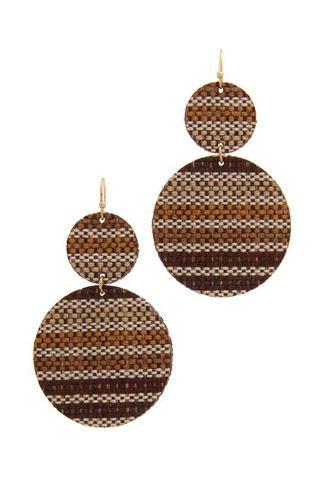 Double Circle Fabric Drop Earring