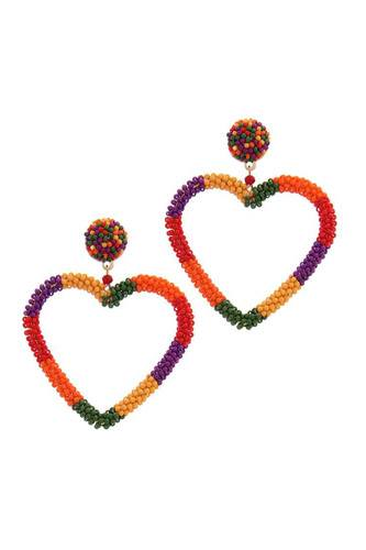 Beaded Heart Shape Post Drop Earring