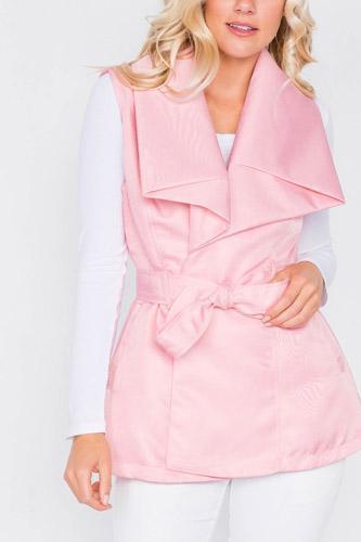 Pink Chic Oversized Lapel Vintage Vest Jacket