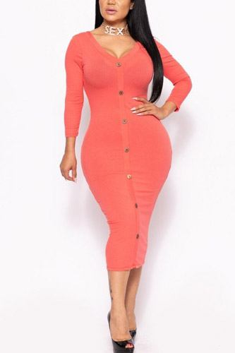 Ribbed, Long Sleeve Solid Midi Dress