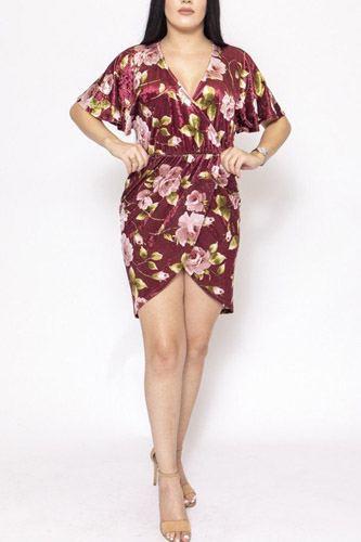 Floral Print, Velvet, Short Dress