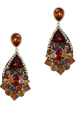 Stylish Multi Rhinestone Tear Drop Earring