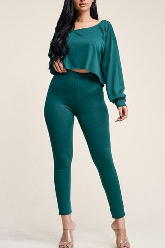 Solid French Terry Long Sleeve Slouchy Top And Leggings Two Piece Set