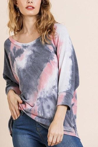 Tye Dye 3/4 Sleeve Round Neck Top