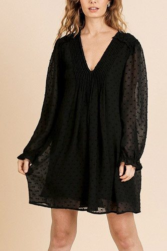 Sheer Polka Dot Fabric Long Ruffle Sleeve V-neck Dress