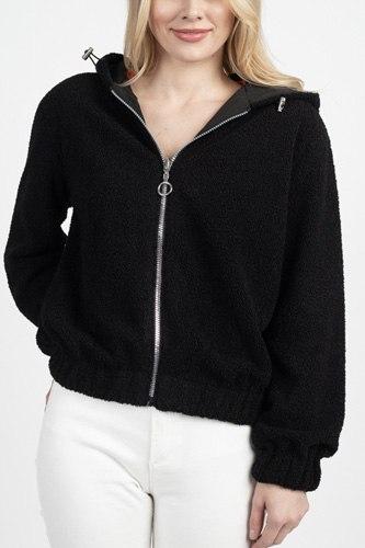 Faux Fur Drawstring Hooded Jacket