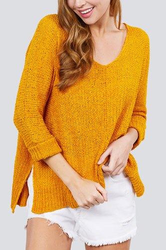 3/4 Sleeve Side Slits Fish Net Sweater Top