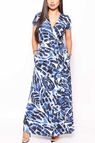 Print Short Sleeve, Maxi Wrap Dress
