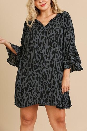 Animal Print Ruffle Split Sleeve Split Neck Dress