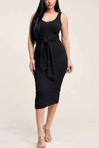 Embellished Rib Knit Sleeveless Midi Dress