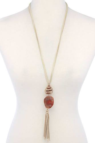 Teardrop Shape Beaded Stone Tassel Pendant Necklace