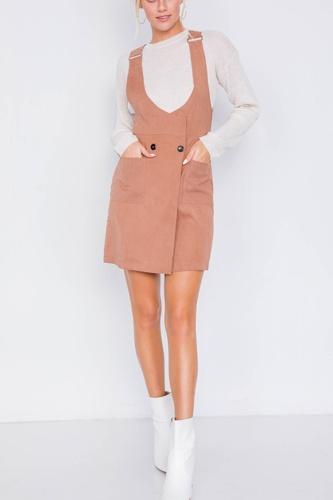 Mocha Vintage Suede Front Button Office Chic Mini Dress