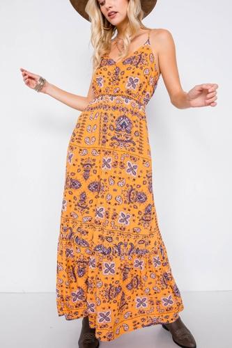 Mustard Boho Print V-neck Cami Straps Maxi Dress