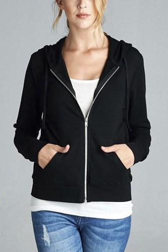 Long Sleeve Zipper French Terry Jacket W/ Kangaroo Pocket