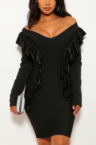 Long Sleeve, Off The Shoulder, V-cut Neckline Dress