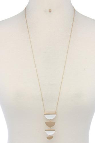 Two Tone Half Circle Pendant Necklace