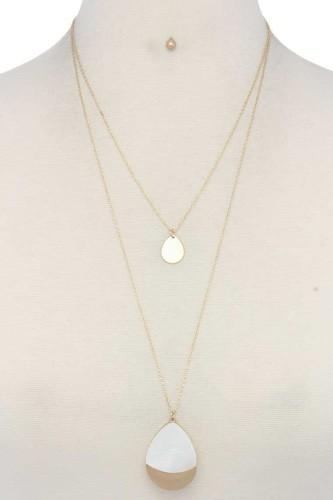 Teardrop Shape Layered Necklace
