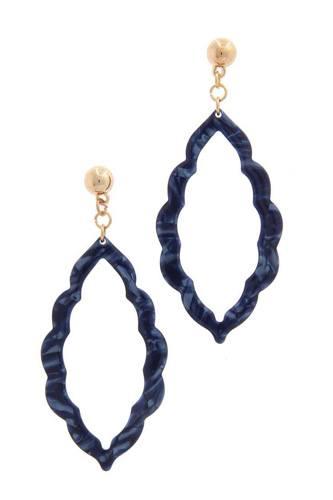Acetate Moroccan Shape Post Drop Earring