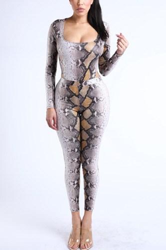 Foiled Snake Printed Bodysuit Leggings Sets