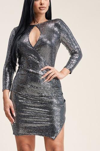 Solid Metallic Trans 3/4 Sleeve Dress